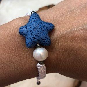 Star Shape Lava Stone Dark blue Bracelet